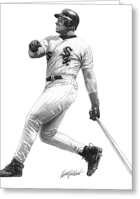 Baseball Drawings Greeting Cards - Frank Thomas Greeting Card by Harry West