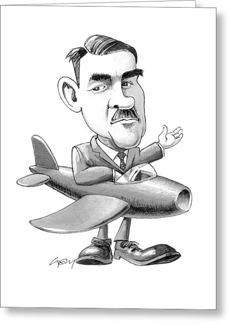 Royal Art Greeting Cards - Frank Whittle, caricature Greeting Card by Science Photo Library