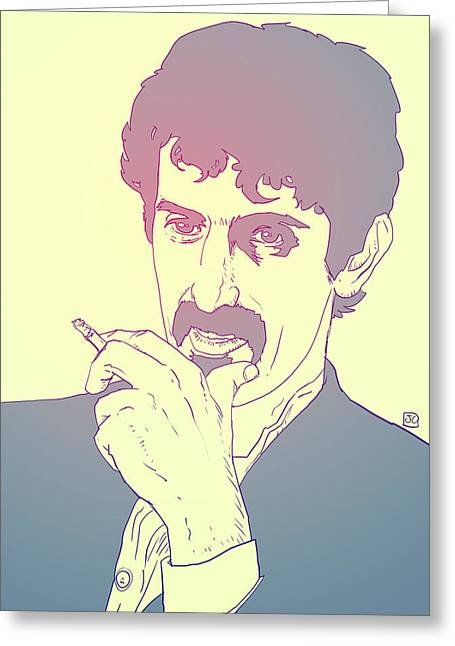 Genius Greeting Cards - Frank Zappa Greeting Card by Giuseppe Cristiano