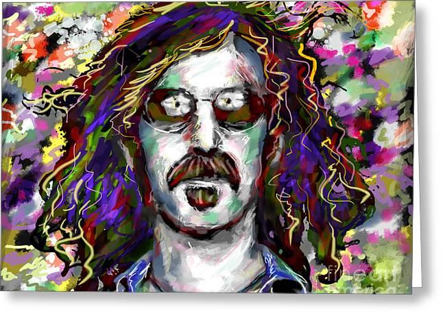Frank Zappa Greeting Cards - Frank Zappa Painting Greeting Card by Ryan RockChromatic
