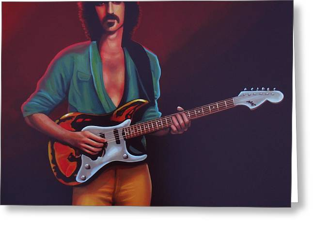 Singer Paintings Greeting Cards - Frank Zappa Greeting Card by Paul  Meijering