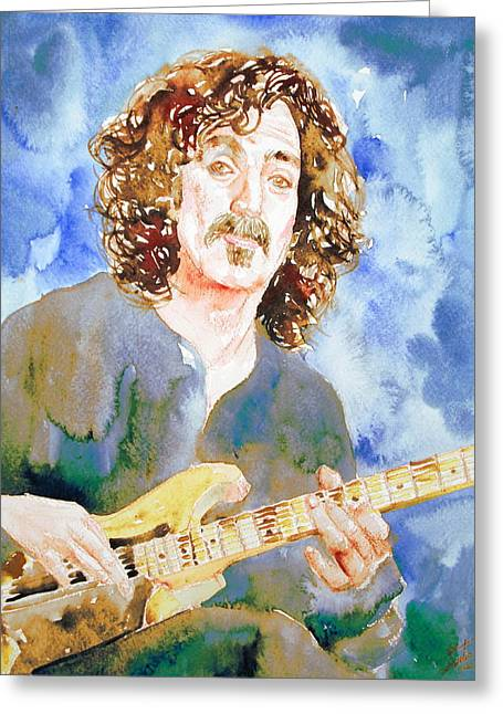 Frank Zappa Playing The Guitar Watercolor Portrait Greeting Card by Fabrizio Cassetta