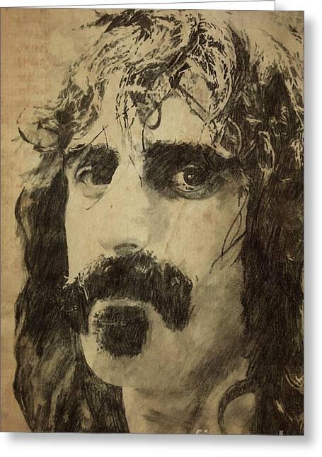 Frank Zappa Greeting Cards - Frank Zappa Portrait Greeting Card by Pablo Franchi