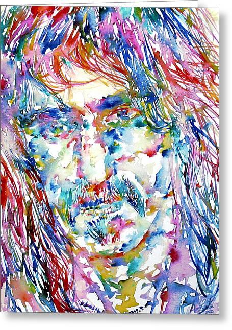 Frank Zappa Greeting Cards - Frank Zappa  Portrait.3 Greeting Card by Fabrizio Cassetta