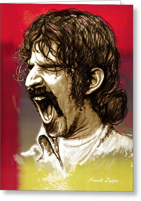Stylised Greeting Cards - Frank Zappa stylised pop art drawing potrait poser Greeting Card by Kim Wang