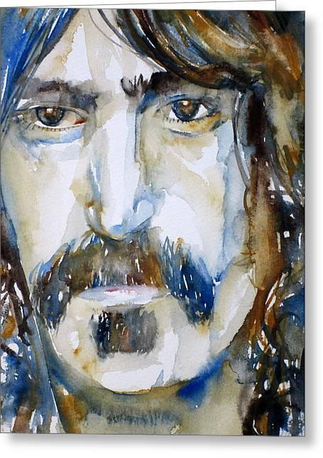 Frank Zappa Greeting Cards - Frank Zappa Watercolor Portrait.2 Greeting Card by Fabrizio Cassetta
