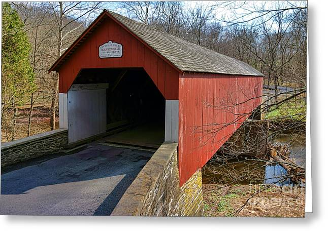 Pa Greeting Cards - Frankenfield Covered Bridge Greeting Card by Olivier Le Queinec
