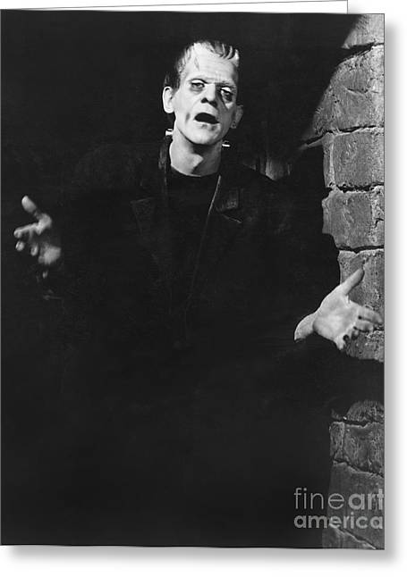 Horror Greeting Cards - Frankenstein - Boris Karloff Greeting Card by MMG Archives
