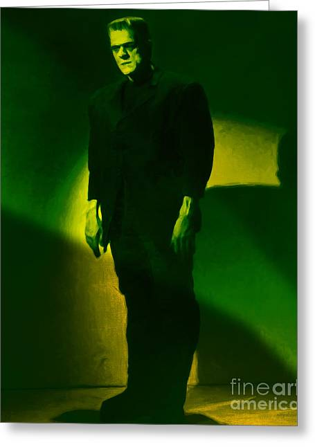 Horror Fantasy Movies Greeting Cards - Frankenstein 20130218m80 Greeting Card by Wingsdomain Art and Photography