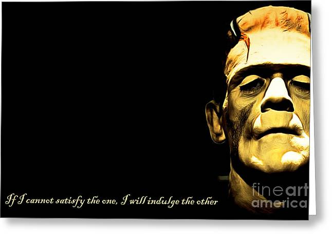 Horror Fantasy Movies Greeting Cards - Frankenstein 20140921brunaille horizontal with text v2 Greeting Card by Wingsdomain Art and Photography