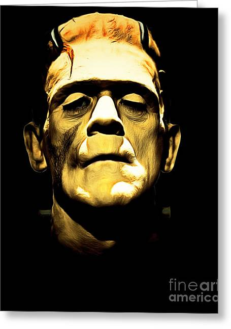 Horror Fantasy Movies Greeting Cards - Frankenstein 20140921brunaille Greeting Card by Wingsdomain Art and Photography