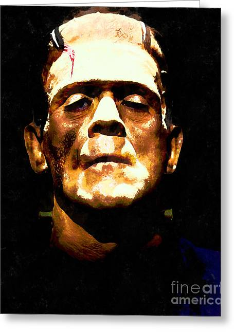 Horror Fantasy Movies Greeting Cards - Frankenstein 20140921wc v1 Greeting Card by Wingsdomain Art and Photography