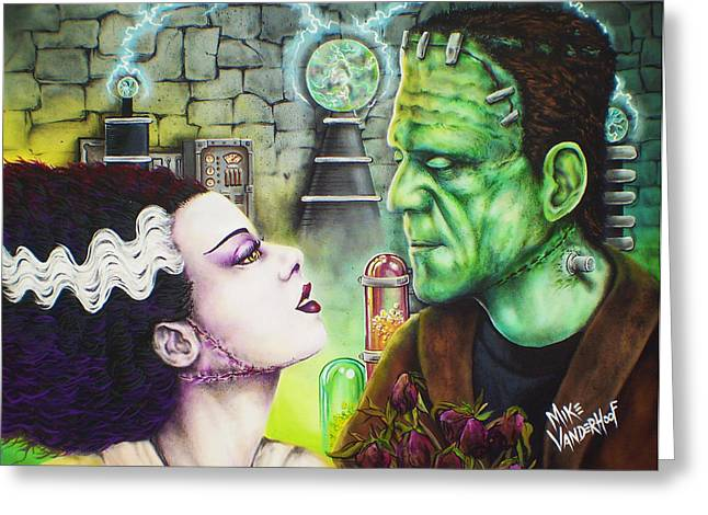 Mary Shelley Greeting Cards - Frankenstein and The Bride Greeting Card by Mike Vanderhoof