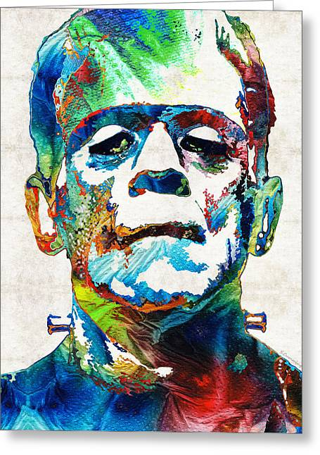 Creepy Paintings Greeting Cards - Frankenstein Art - Colorful Monster - By Sharon Cummings Greeting Card by Sharon Cummings