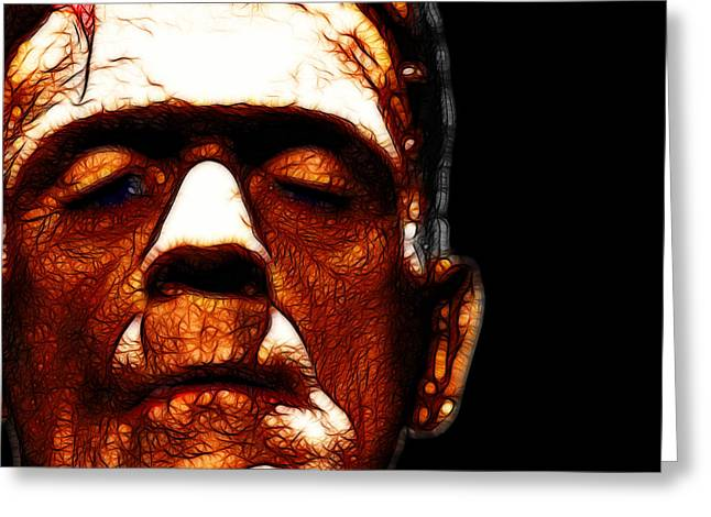 Horror Fantasy Movies Greeting Cards - Frankenstein Black Square Greeting Card by Wingsdomain Art and Photography
