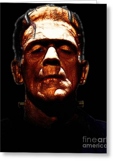 Horror Fantasy Movies Greeting Cards - Frankenstein - Black Greeting Card by Wingsdomain Art and Photography