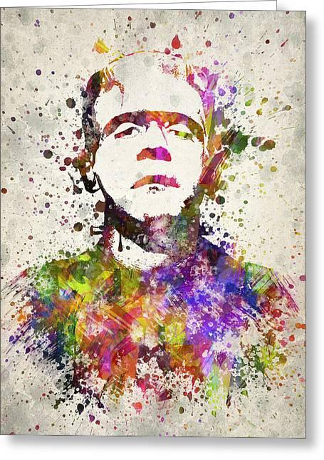 Frankensteins Monster Greeting Cards - Frankenstein - Boris Karloff Greeting Card by Aged Pixel