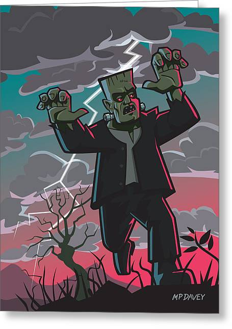 Horror Drawings Greeting Cards - Frankenstein Creature In Storm  Greeting Card by Martin Davey