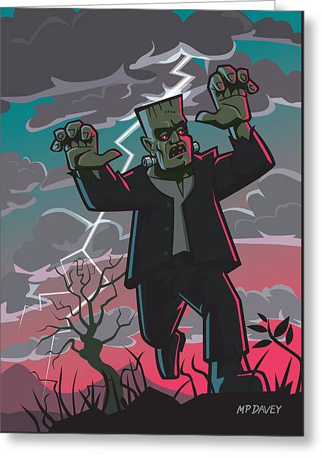 Frankenstein Creature In Storm  Greeting Card by Martin Davey