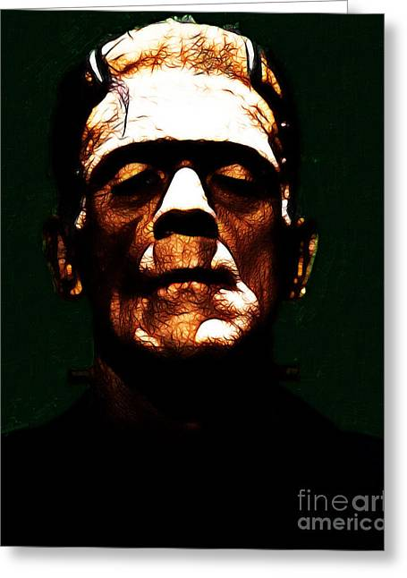 Horror Fantasy Movies Greeting Cards - Frankenstein - Dark Greeting Card by Wingsdomain Art and Photography