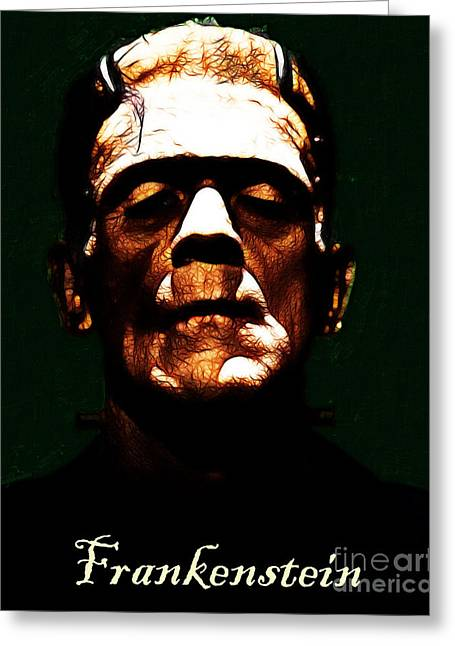 Frankenstein - Dark - With Text Greeting Card by Wingsdomain Art and Photography