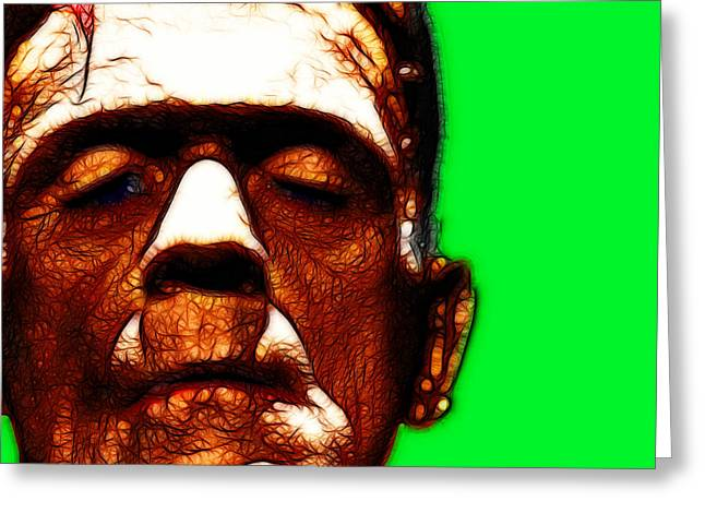 Horror Fantasy Movies Greeting Cards - Frankenstein Green Square Greeting Card by Wingsdomain Art and Photography