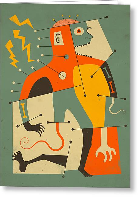 Abstractions Greeting Cards - Frankenstein Greeting Card by Jazzberry Blue