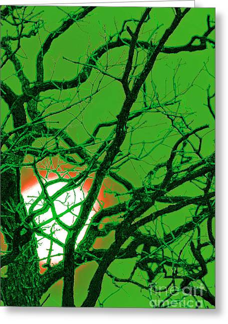 Samhaim Greeting Cards - Frankenstein Moon Greeting Card by First Star Art