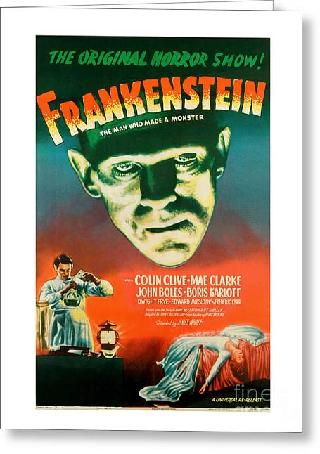 Monster Greeting Cards - Frankenstein Movie Poster Greeting Card by MMG Archive Prints