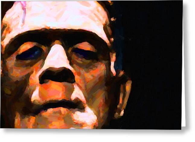 Horror Fantasy Movies Greeting Cards - Frankenstein Painterly Black Square Greeting Card by Wingsdomain Art and Photography