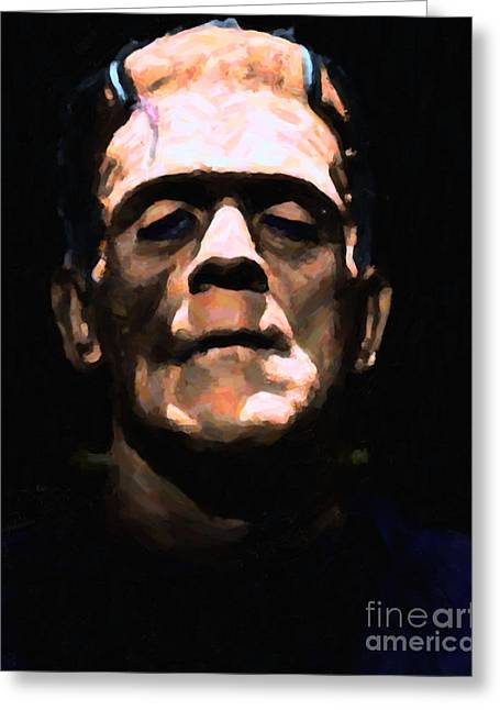 Horror Fantasy Movies Greeting Cards - Frankenstein - Painterly - Black Greeting Card by Wingsdomain Art and Photography