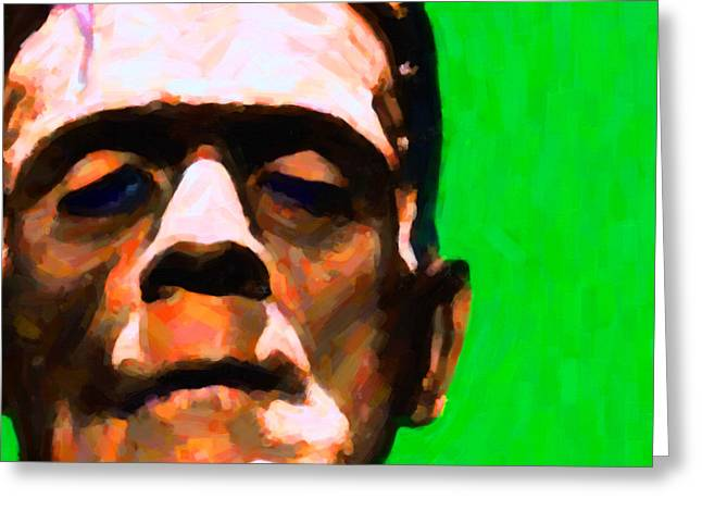 Frankenstein Painterly Green Square Greeting Card by Wingsdomain Art and Photography