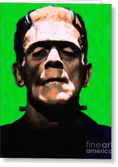 Horror Fantasy Movies Greeting Cards - Frankenstein - Painterly - Green Greeting Card by Wingsdomain Art and Photography