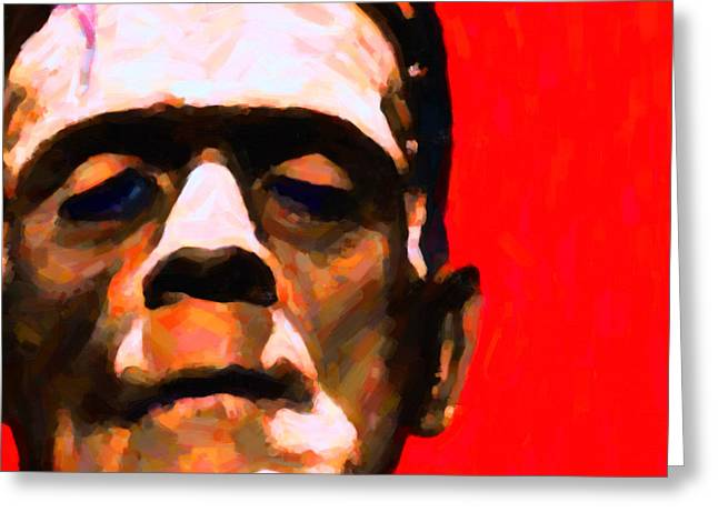 Horror Fantasy Movies Greeting Cards - Frankenstein Painterly Red Square Greeting Card by Wingsdomain Art and Photography