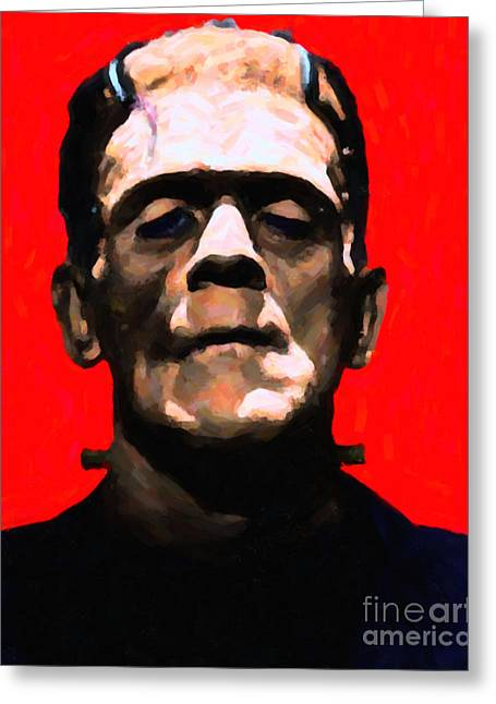 Morbid Greeting Cards - Frankenstein - Painterly - Red Greeting Card by Wingsdomain Art and Photography