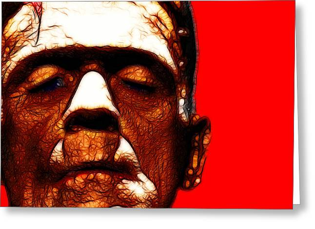Morbid Greeting Cards - Frankenstein Red Square Greeting Card by Wingsdomain Art and Photography