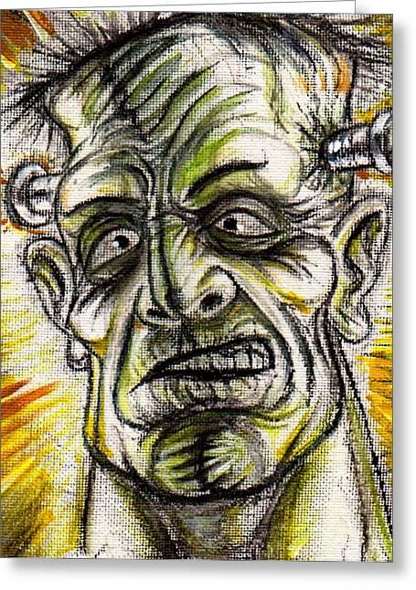 Movie Art Greeting Cards - Frankenstein Shock Greeting Card by  Joya