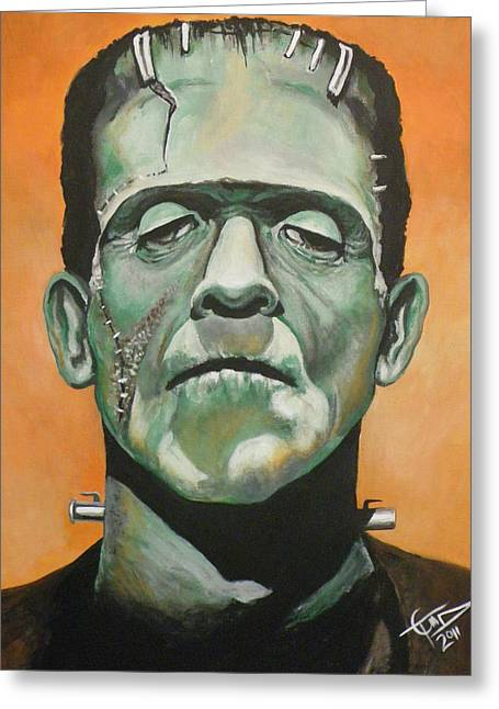Classic Horror Greeting Cards - Frankenstein Greeting Card by Tom Carlton