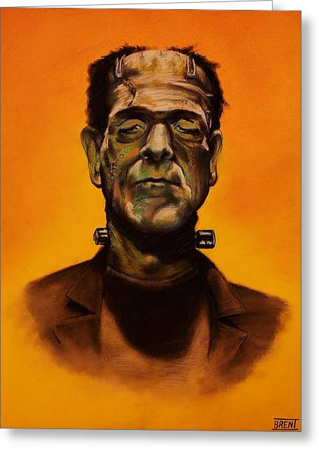 Lightning Pastels Greeting Cards - Frankensteins Monster Greeting Card by Brent Andrew Doty