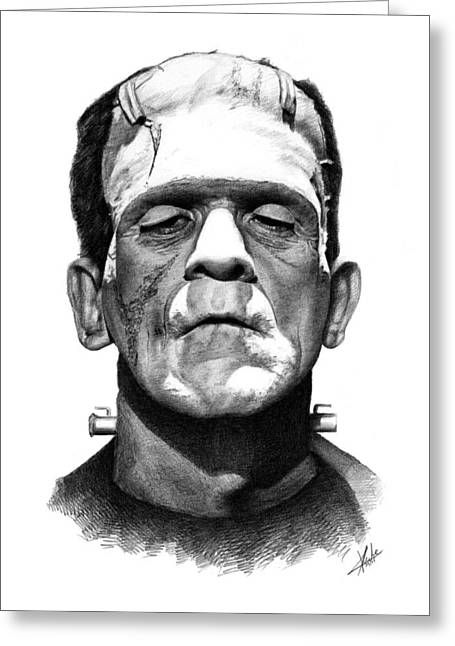 Classic Horror Greeting Cards - Frankensteins Monster Greeting Card by Christian Klute