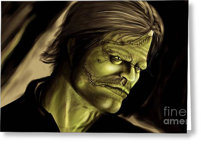 Mary Shelley Greeting Cards - Frankensteins Monster Greeting Card by Evan Hardin