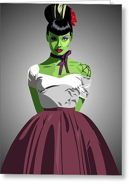 1950s Movies Greeting Cards - Frankensteins Prom Date Greeting Card by Angela Schwengler