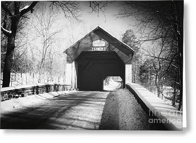 Covered Bridge Greeting Cards - Covered Bridge in Winter Landscape Greeting Card by George Oze