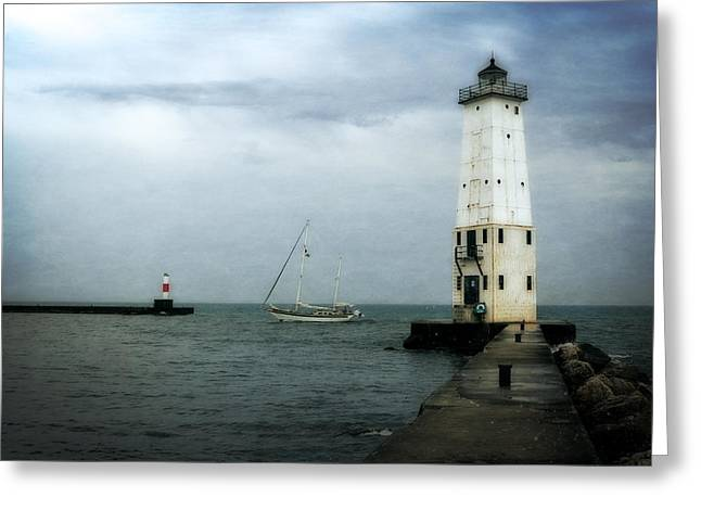 Michelle Greeting Cards - Frankfort Lighthouse with Sailboat Greeting Card by Michelle Calkins