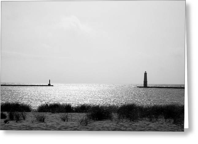 Michelle Photographs Greeting Cards - Frankfort Michigan Harbor Greeting Card by Michelle Calkins