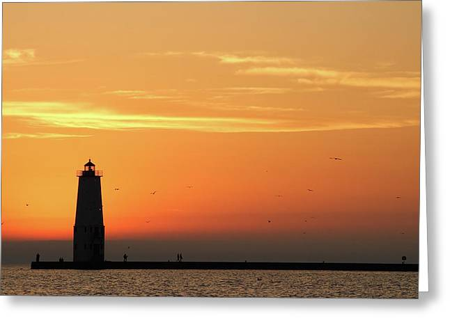 Harbour Wall Greeting Cards - Frankfort North Breakwater Lighthouse Greeting Card by Adam Romanowicz