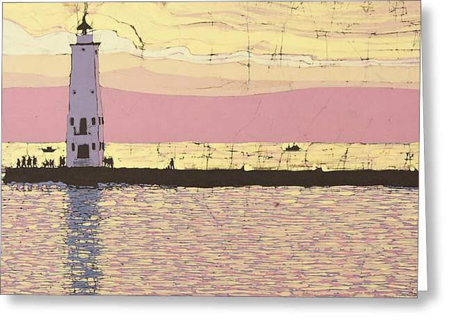 Chicago Tapestries - Textiles Greeting Cards - Frankfort Pier Greeting Card by Terri Haugen