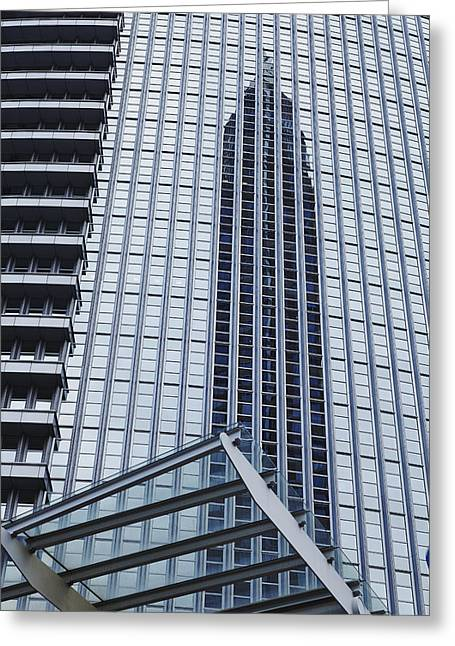 Wolkenkratzer Greeting Cards - Frankfurt - Exhibition tower is mirroring in a glass fassade Greeting Card by Olaf Schulz