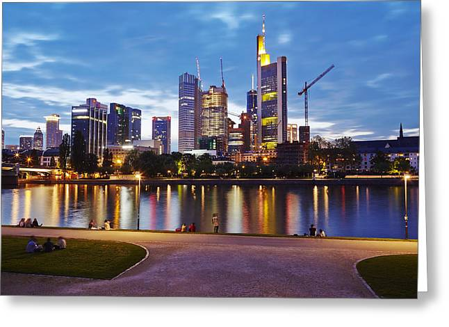Wolkenkratzer Greeting Cards - Frankfurt - Skyline in the evening Greeting Card by Olaf Schulz