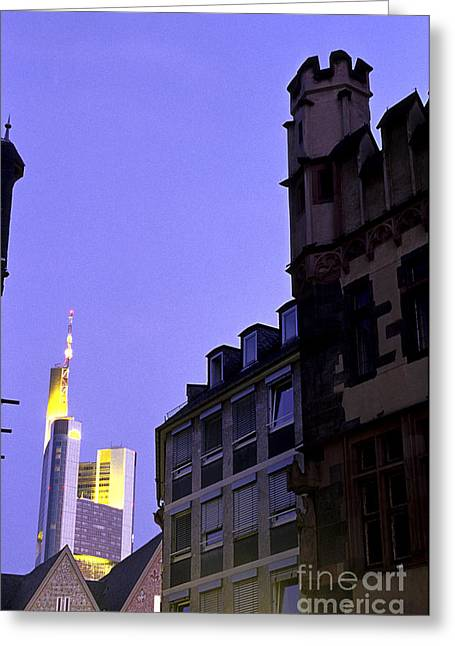 Medieval Buildings Greeting Cards - Frankfurt financial district Westend skyscrapers Frankfurk  G Greeting Card by Ryan Fox